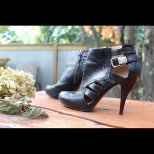 Nine West Leather Cutout Buckled Booties